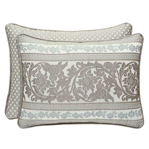 Five Queens Court Melinda Woven Jacquard Boudoir Throw Pillow, Sage, 21x15