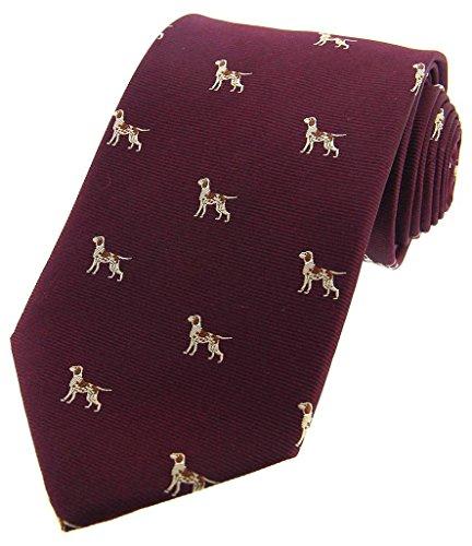 David Van Hagen Mens Pointer Dogs Woven Country Silk Tie - Wine ()