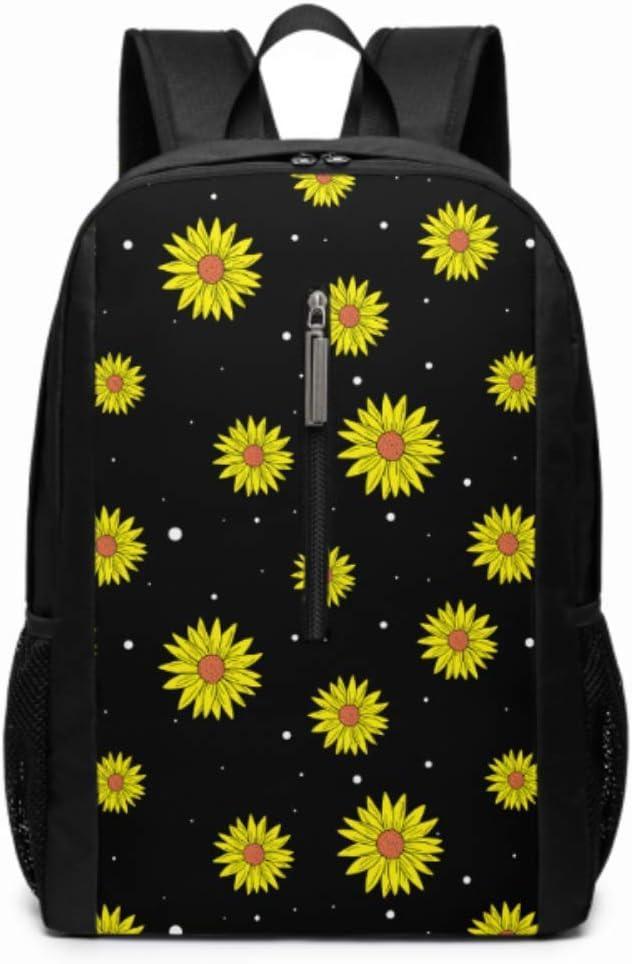 Allover Sunflowers Black 17 Inch Laptop Casual Rucksack Waterproof School Backpack Daypacks,Sports Backpack Unisex Backpack