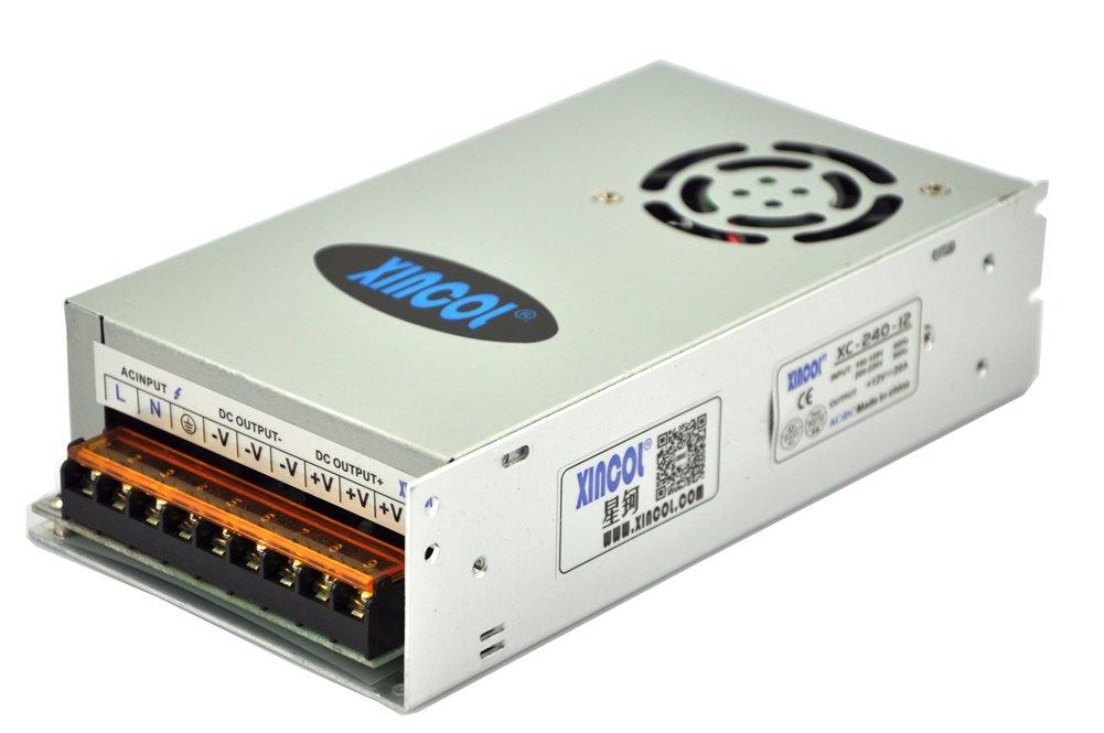 XINCOL Trasformatore Professionale stabilizzato Alimentazione 110-220V 50-60HZ Uscita 12V 15A Ampere per impianti LED, telecamere, apparecchiature di sorveglianza, Max 180W XINCOL Global Co. Ltd. CBEU028