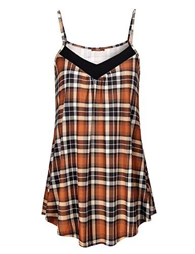 Gaharu Camisole Tops, Teen Girls V Neck Sleeveless Flannel S