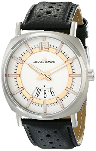 Jacques Lemans Men's 1-1740D Lugano Analog Display Quartz Black Watch