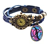 "Bisexual Blue Boho Leather Charm Bracelet Watch 7"" to 8 1/4"""