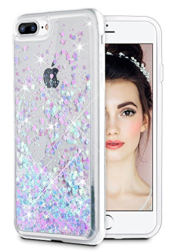 iPhone 7 Plus Case, Caka iPhone 7 Plus Glitter Case Flowing Liquid Floating Luxury Bling Glitter Sparkle Case for iPhone 7 Plus 8 Plus (Pink Blue) (Best Games In Iphone 7 Plus)