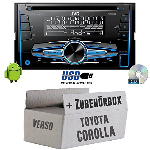Toyota Corolla Verso Silber - JVC KW-R520E - 2DIN Autoradio Radio - Einbauset JUST SOUND best choice for caraudio