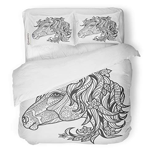 Emvency Decor Duvet Cover Set Twin Size Monochrome Coloring Page Book for Adults and Older Children Horse 3 Piece Brushed Microfiber Fabric Print Bedding Set Cover -