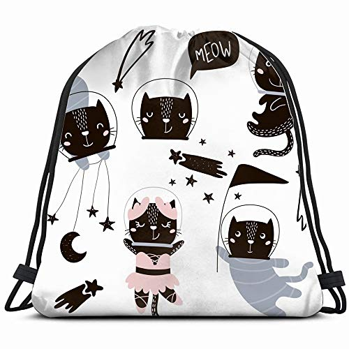 Circus Clipart - Circus Cats Astronauts Clipart Cute Cat Drawstring Backpack Bag For Kids Boys Girls Teens Birthday, Gift String Bag Gym Cinch Sack For School And Party