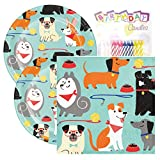 "Dog Party Birthday Party Pack - Includes 7"" Paper Plates & Beverage Napkins Plus 24 Birthday Candles - Serves 16"