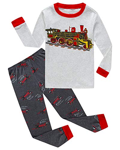 KikizYe Little Boys Train Long Sleeve Pajamas 100% Cotton Pants Sets Size 7 ()