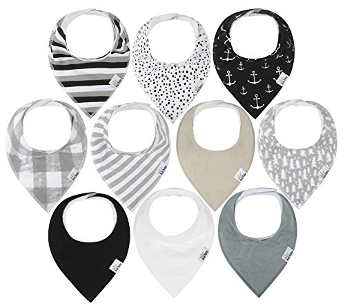 10-Pack Baby Bandana Drool Bibs for Drooling and Teething, 100% Organic Cotton, Soft and Absorbent, Hypoallergenic Unisex Bibs for Baby Boys & Girls - Baby Shower Gift Set (Gray) Unisex Baby Gift Set