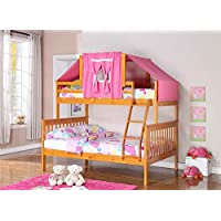 Twin Over Full Mission Bunk Bed with Tent Kit in Honey and Pink