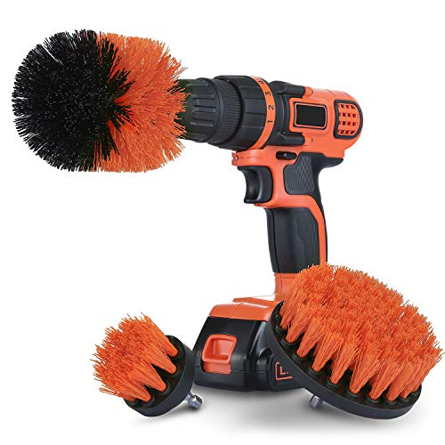 Drill Brush Attachment Set for Cleaning - All Purpose Power Scrubber Drill Brush for Bathroom Surface, Grout, Tub, Shower, Kitchen, Floor and Upholstery - Medium, Tangerine (Upholstery Cleaning Supplies)