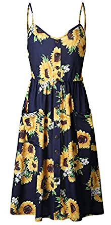 SZIVYSHI Sleeveless Spaghetti Strap Button Front Deep V Neck Highwaist Shirred Ruched Pleated Floral Midi A-Line Dress Blue S