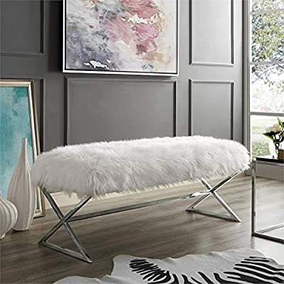 Brika Home Faux Fur Bench in White and Chrome