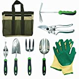 buy 8 Piece Stainless Steel Garden Tools Set with Garden Gloves and Garden Tote for Digging Planting Gardening Kit with Ergonomic Handles, Including Pruning shears,Cultivator now, new 2018-2017 bestseller, review and Photo, best price $79.99
