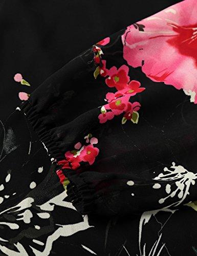 Noir Soie De En Fleur Robe Mousseline rouge Femme Djt Manches Longues wFOCxqTzc