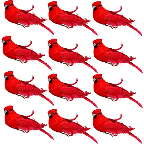 Gift Boutique Bright Red Artificial Christmas Cardinal Birds Clip on Tree Ornaments Pack of 12 Craft Decorations 5 Inch (Holiday Decor Bird)
