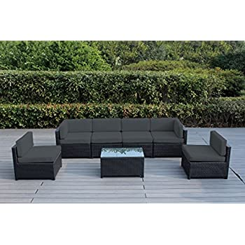 Ohana Mezzo 7 Piece Outdoor Wicker Patio Furniture Sectional Conversation  Set (Dark Gray)