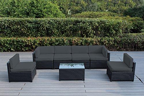 Ohana Mezzo 7-Piece Outdoor Wicker Patio Furniture Sectional Conversation Set (Dark Gray) (Wicker Patio Furniture 7 Piece)