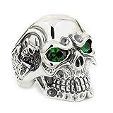 925 Sterling Silver Titan Skull Green CZ Eyes Mens Biker Ring 8V205 US 7~15 (15)