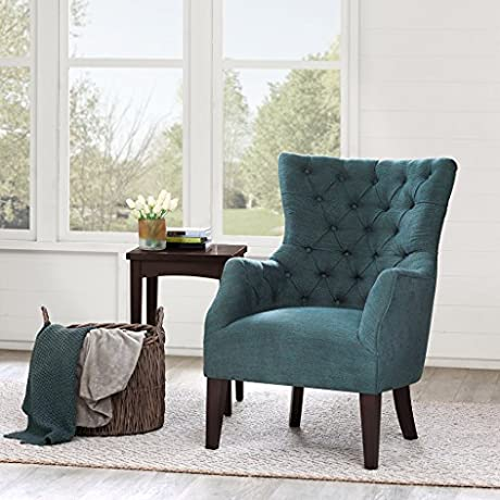 Button Tufted Wing Chair Green Hannah