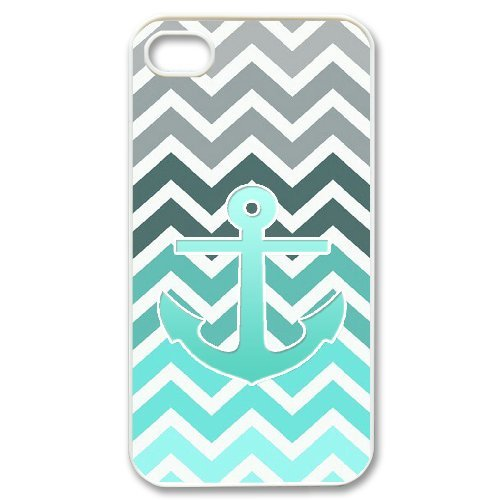 Cooliphone4Cases.com-2835-iPhone 4s Case, Hard Back Cover for iPhone 4s with Teal Blue Chevron Anchor Phone case Design-B01KX0KCFO-T Shirt Design