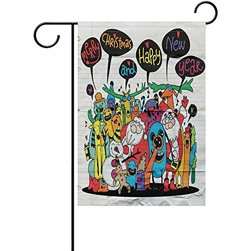 Decorative Merry Christmas and Hapy YearDouble Sided Polyester Garden Flag Banner 12 x 18 Inch for Outdoor Home Garden Flower Pot -