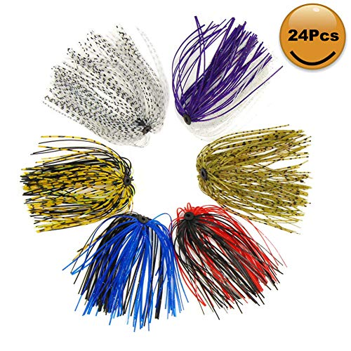 - Croch Silicone Jig Skirts DIY for Rubber Fishing Bass Jig Lures 24 Bundles 50 Strands Fishing Bait Accessories
