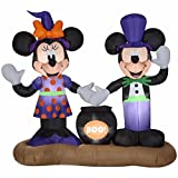 5 Ft Mickey Mouse Vampire and Minnie Mouse Witch with Cauldron Halloween Airblown Inflatable