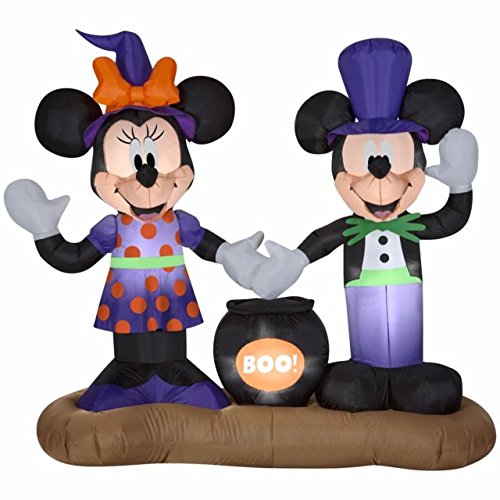 5 Ft Mickey Mouse Vampire and Minnie Mouse Witch with Cauldron Halloween Airblown Inflatable for $<!--$139.99-->