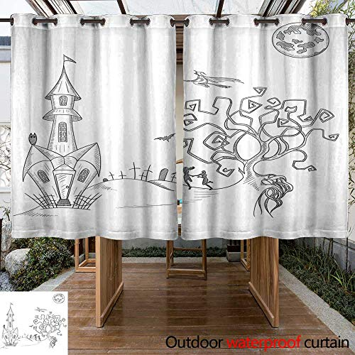 RenteriaDecor Outdoor Ultraviolet Protective Curtains White Background with Hand Drawn Halloween Decoration W55 x L72 ()