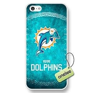 NFL Miami Dolphins Team Logo iPhone 5c Hard White Plastic Case Cover - White