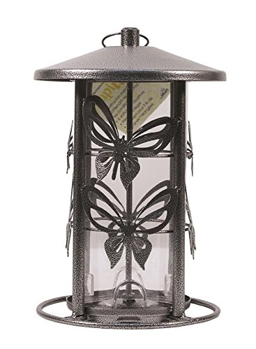 Heath Outdoor Products 21239 Wild Bird Feeder, 3-Pound Butterfly Seed Capacity Decorative Metal Wi