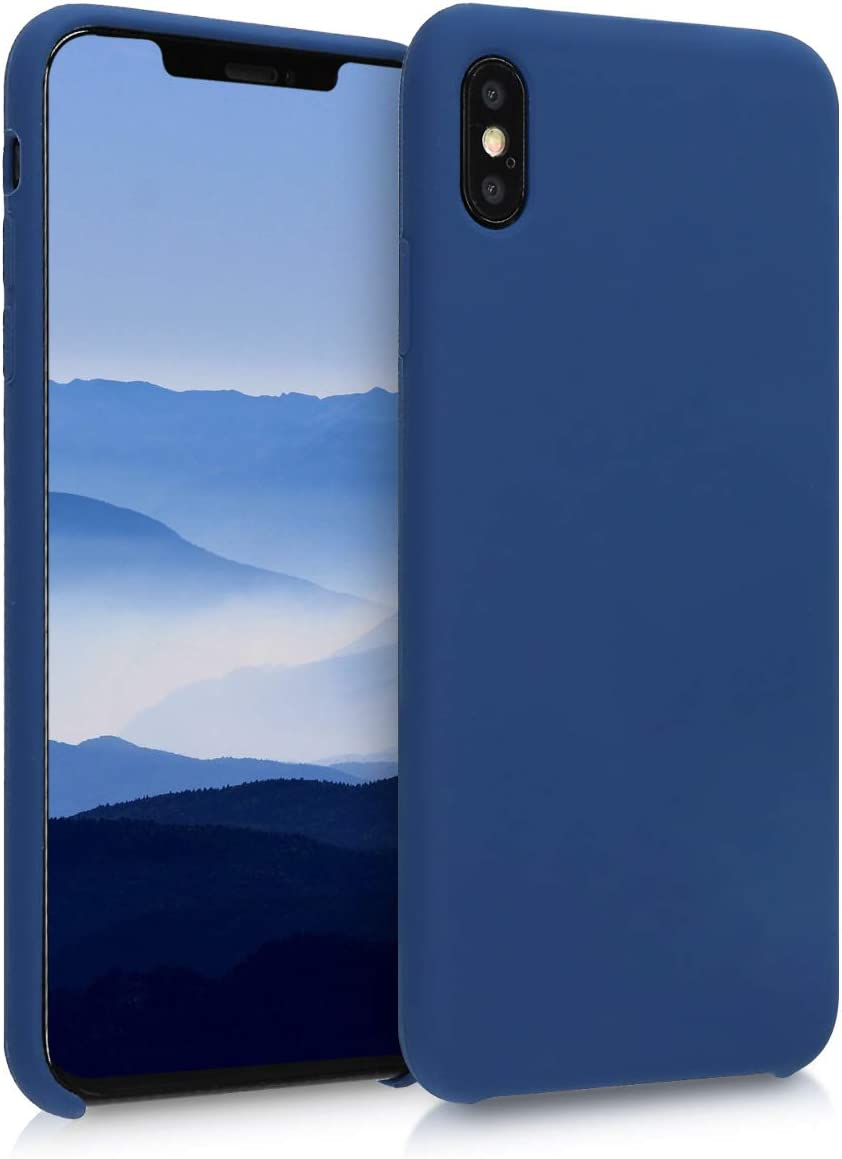 kwmobile TPU Silicone Case Compatible with Apple iPhone Xs Max - Soft Flexible Rubber Protective Cover - Navy Blue