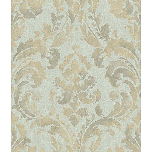 (York Wallcoverings NV6073 Baton Rouge Iridescent Framed Damask Wallpaper, Blue/Lavender/Grey)