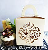 KAZIPA 12PCS Single Cupcake Boxes with Cupcake Inserts, 3.9''x3.9''x3.9'' Laser Cut Butterfly Flower Gift Box for Regular Cupcake LED Candles Apple(Ivory)