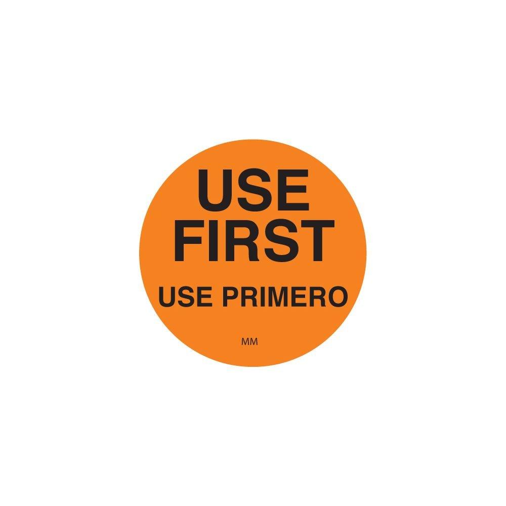 DayMark 114950 DuraMark Round Orange 1-1/2'' Use First Label - 500 / RL