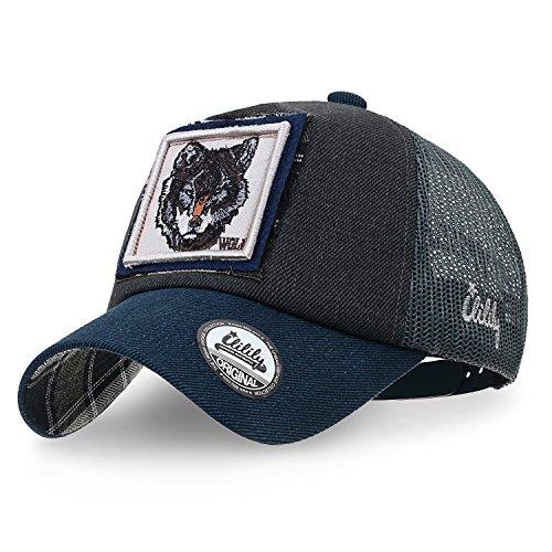 ililily Wolf Deer Animal Square Patch Casual Mesh Baseball Cap Trucker Hat, Prussian Blue - Deer Logo Cap