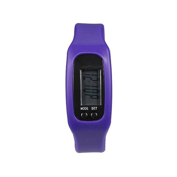 melysEU Banda de Silicona LCD Podómetro Digital Step Walking Correr Reloj Contador de calorías (Púrpura