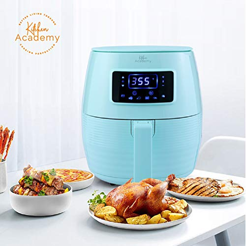(Kitchen Academy Air Fryer (50 Recipes), 5.8 Qt Electric Hot Air Fryers XL Oven Oilless Cooker, 7 Cooking Preset, LED Digital Touchscreen,Nonstick Basket,1 - Year Warranty,ETL/FDA Listed,1700W - Aqua Blue)