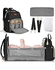 JOSEKO Babyluiertas/rugzak, luierrugzak casual luiertassen, multifunctioneel, grote capaciteit, babytas, reisrugzak met aankleedkussen en fopspeenkophouder, zwart