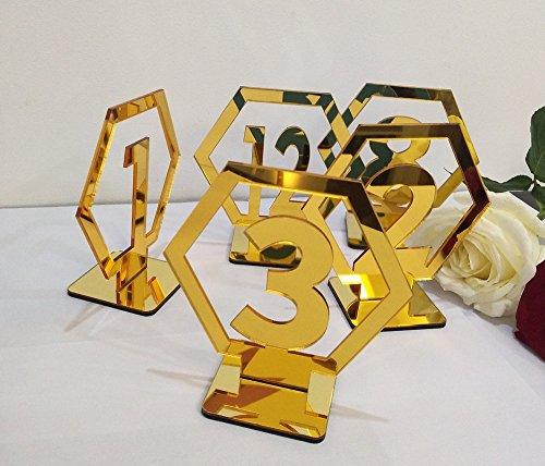 (RUIXUAN Acrylic Geometric Table Numbers,Wedding Hexagon Table Numbers, Boho Centerpiece Table Decor, Mirror Gold Table Decor (Gold, 15PCS))