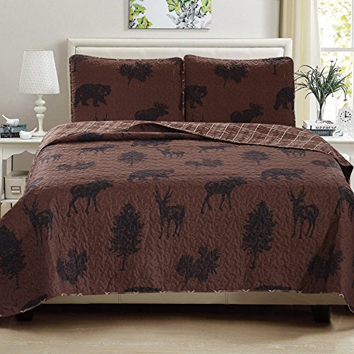 Great Bay Home 3-Piece Quilt Set with Shams. Durable All-Season Polyester Bedspread and Shams with Wilderness Themed Printed Pattern. Nathaniel Collection By Brand. (Twin) (Set Bear Plaid Comforter Twin)