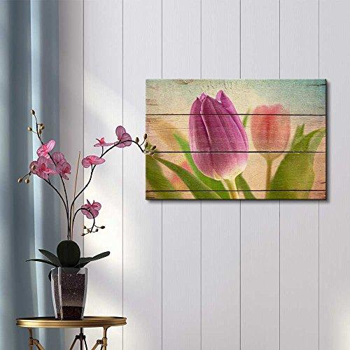 Closeup of Lavender Tulip Rustic Floral Arrangements Pastels Colorful Beautiful Wood Grain Antique