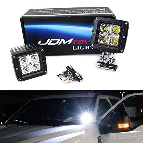 iJDMTOY Universal 40W High Power CREE LED Pod Light Kit w/ A-Pillar Mounting Brackets & Switch Wiring Relay For Truck Jeep SUV 4x4 Offroad ATV UTV, etc (Cowl Steel Truck Hood)