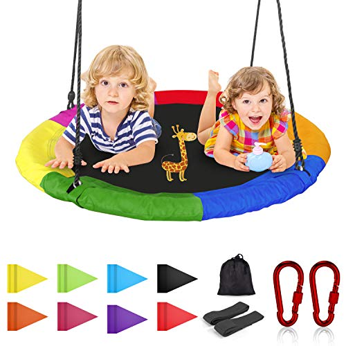 Joychoic Tree Swing,Extra Large 40'' Diameter Outdoor Tree Swing,Bonus Swing Straps Set of 2,Flag Set and 2 Carabiners (Love Survives All Dogs Go To Heaven)