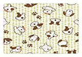 Cheap Lunarable Kids Pet Mat for Food and Water, Modern Pattern with Puppy Dogs and Paws Doodle Style Cute Design Pet Animal Print, Rectangle Non-Slip Rubber Mat for Dogs and Cats, White and Green