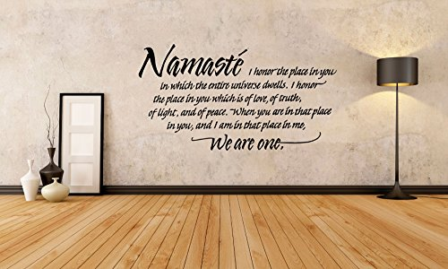 Removable Vinyl Sticker Mural Decal Art Decor Namaste Word Phrase Quote Yoga Studio Business Poster Peace Meditation Sign Logo SA135