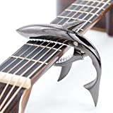 CLOUDMUSIC Shark Capo Acoustic Guitar Capo Electric Guitar Capo Classical Guitar Capo Ukulele Capo Zinc Alloy Spring Capo (Black)