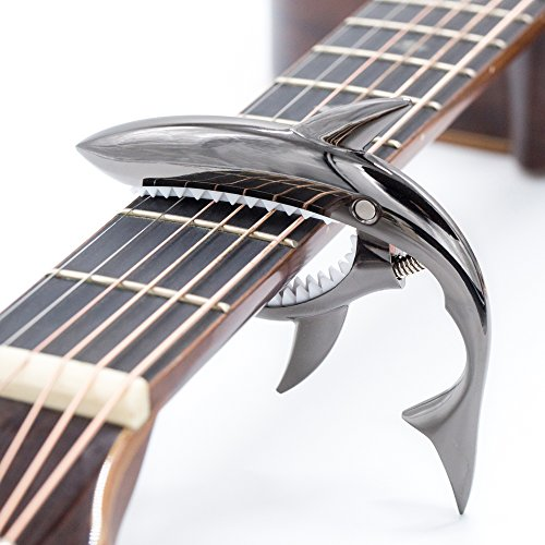 CLOUDMUSIC Shark Capo Acoustic Guitar Capo Electric Guitar Capo Classical Guitar Capo Ukulele Capo Zinc Alloy Spring Capo (Black)